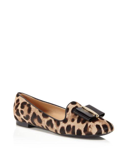 Ferragamo | Brown Aosta Leopard Print Calf Hair Loafers | Lyst