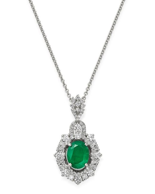 Bloomingdale's Multicolor Emerald & Diamond Pendant Necklace In 14k White Gold