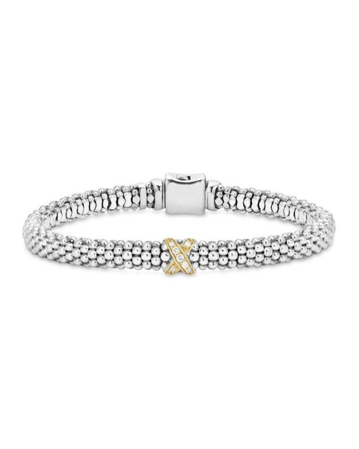 Lagos - White 18k Gold And Sterling Silver X Collection Rope Bracelet With Diamonds - Lyst