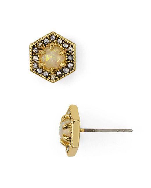 Rebecca Minkoff   Metallic Hex Stud Earrings   Lyst