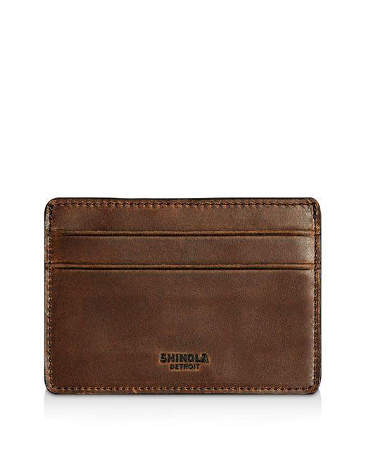 Shinola - Brown Distressed Card Case - Lyst