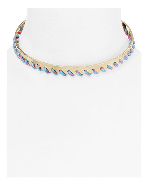 Rebecca Minkoff | Metallic Whipstitch Collar Necklace | Lyst