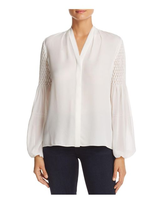Elie Tahari | White Georgia Pintucked Bishop Sleeve Blouse | Lyst