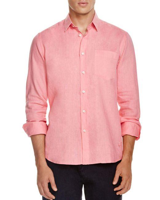 Vilebrequin - Pink Linen Button-down Shirt - Regular Fit for Men - Lyst