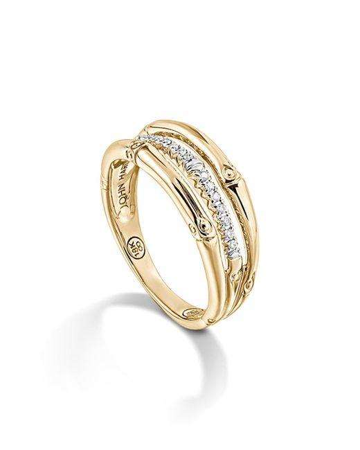 John Hardy | Metallic Bamboo 18k Yellow Gold Diamond Pave Ring | Lyst