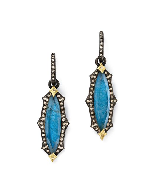 Armenta - Multicolor 18k Yellow Gold & Blackened Sterling Silver Labradorite Triplet Marquise Drop Earrings - Lyst
