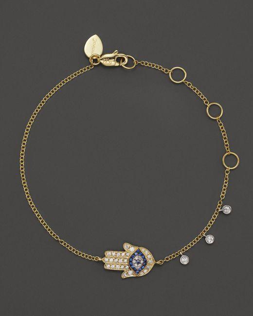 Meira T   Metallic 14k Yellow Gold Hamsa Bracelet   Lyst
