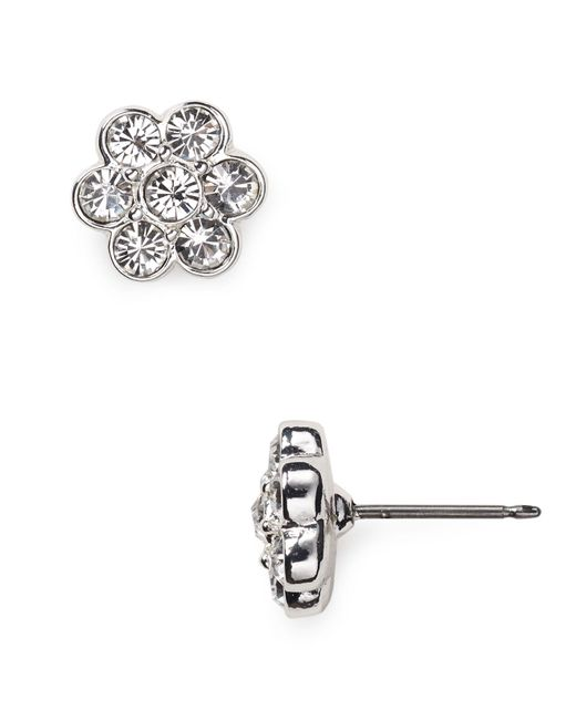 Carolee | Gray Floral Stud Earrings | Lyst