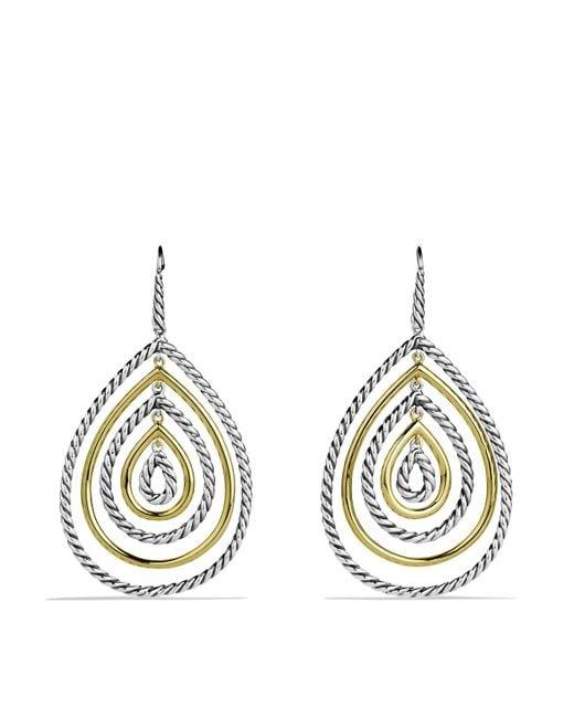 David Yurman | Metallic Cable Classics Teardrop Earrings With Gold | Lyst