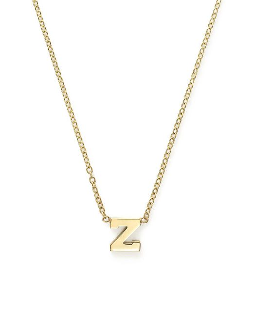Zoe Chicco | Metallic 14k Yellow Gold Initial Necklace, 16"