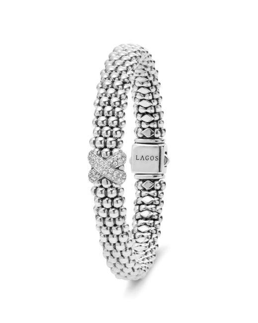 Lagos - Metallic Sterling Silver Caviar Diamond X Rope Bracelet - Lyst
