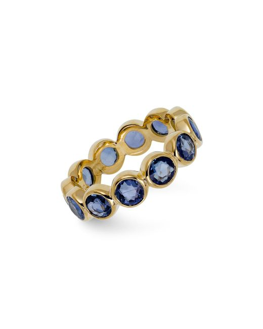 Temple St. Clair   18k Yellow Gold Rose Cut Blue Sapphire Eternity Ring   Lyst