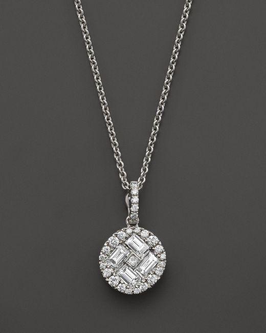 "Roberto Coin | 18k White Gold Diamond Baguette Pendant Necklace, 15.5"" | Lyst"