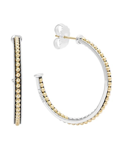 Lagos | Metallic 18k Gold And Sterling Silver Enso Medium Caviar Lined Hoop Earrings | Lyst