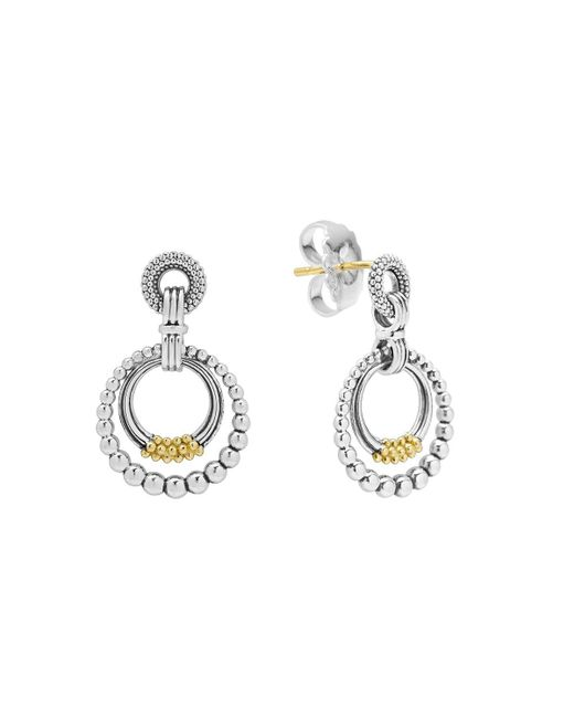 Lagos   Metallic 18k Gold And Sterling Silver Micro Double Circle Earrings   Lyst