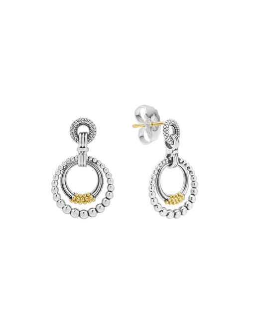 Lagos | Metallic 18k Gold And Sterling Silver Micro Double Circle Earrings | Lyst