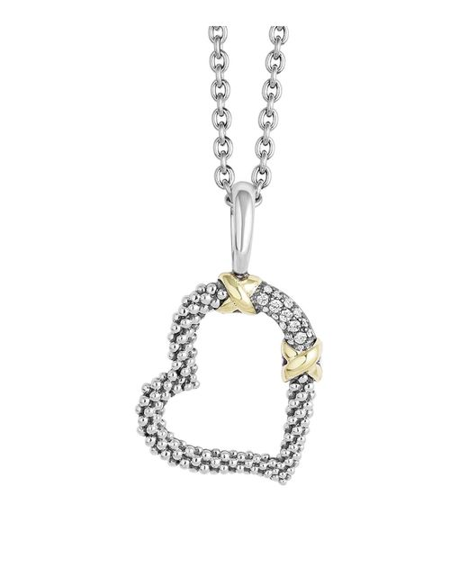 Lagos | Metallic 18k Gold And Sterling Silver Xx Heart Pendant Necklace With Diamonds, 16"