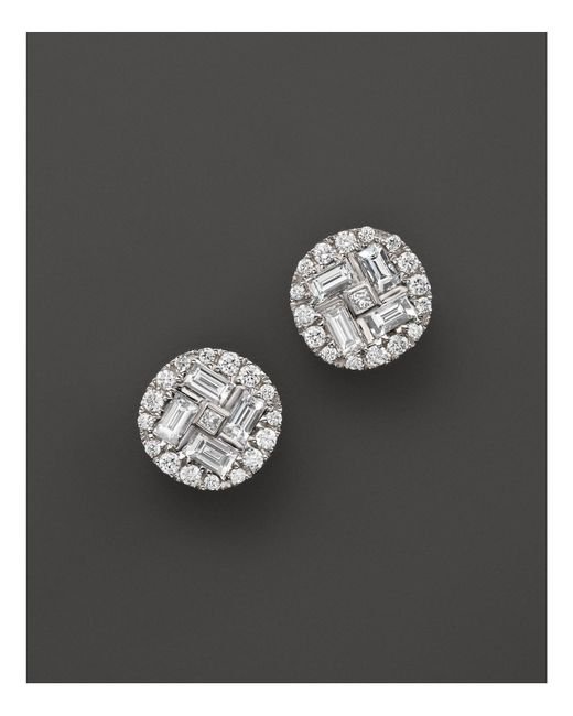 Roberto Coin | 18k White Gold Diamond Baguette Stud Earrings | Lyst