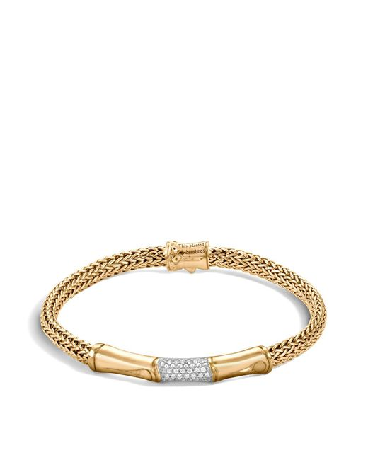 John Hardy | Metallic Bamboo 18k Yellow Gold Diamond Pavé Station Bracelet | Lyst