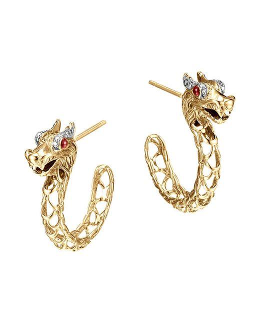 John Hardy | Metallic 18k Gold Naga Diamond Pave Medium Dragon Hoop Earrings With African Ruby Eyes | Lyst