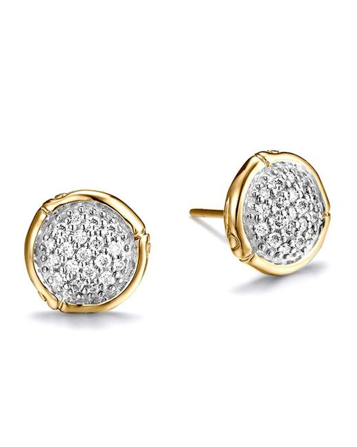 John Hardy | Metallic Bamboo 18k Yellow Gold Diamond Pave Small Round Stud Earrings | Lyst