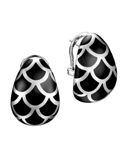 John Hardy   Metallic Naga Sterling Silver And Black Enamel Buddha Belly Earrings   Lyst