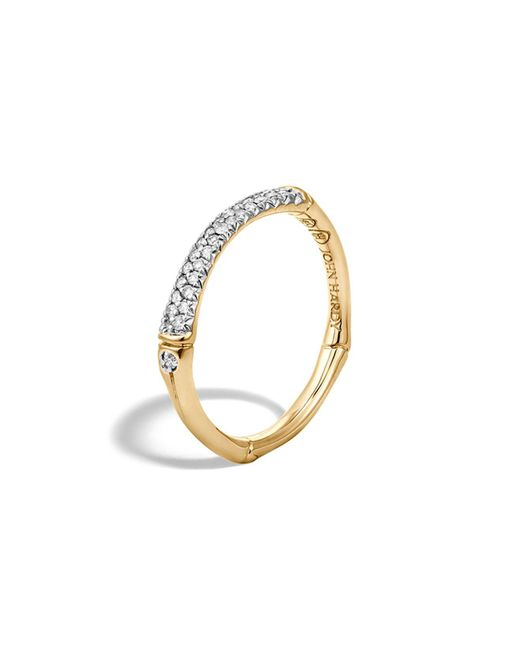 John Hardy | White Bamboo 18k Yellow Gold Diamond Pavé Slim Band Ring | Lyst