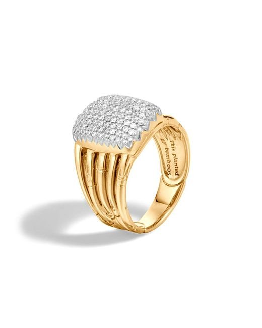 John Hardy | Metallic Bamboo 18k Yellow Gold Diamond Pavé Five Row Ring | Lyst
