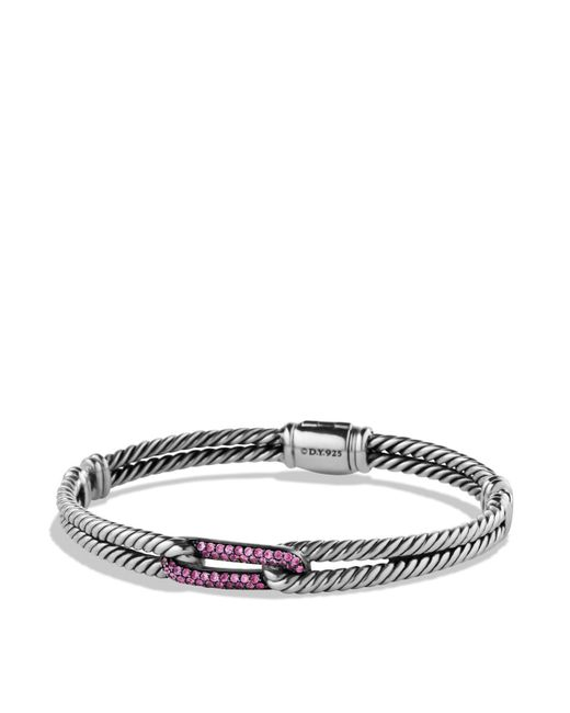 David Yurman | Metallic Petite Pavé Labyrinth Mini Loop Bracelet With Pink Sapphires | Lyst