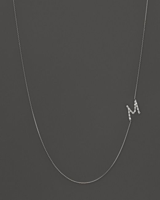 KC Designs | Diamond Side Initial M Necklace In 14k White Gold, .08 Ct. T.w. | Lyst