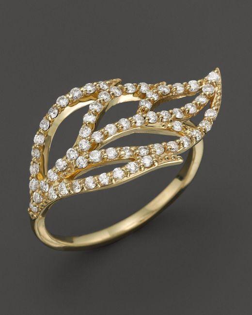 KC Designs | Metallic Diamond Leaf Ring In 14k Yellow Gold | Lyst