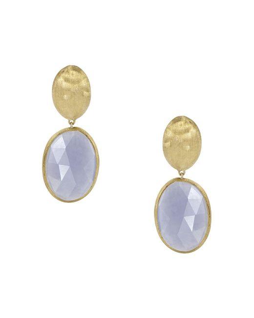 Marco Bicego | Blue 18k Yellow Gold Chalcedony Siviglia Earrings | Lyst