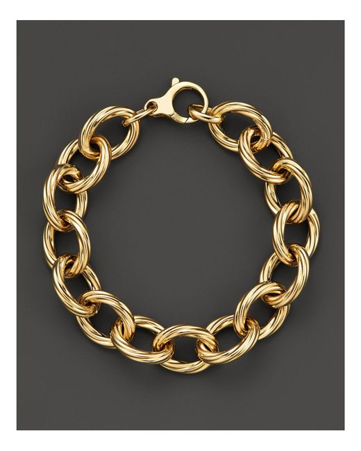 Roberto Coin | Metallic 18k Yellow Gold Textured Oval Link Bracelet | Lyst