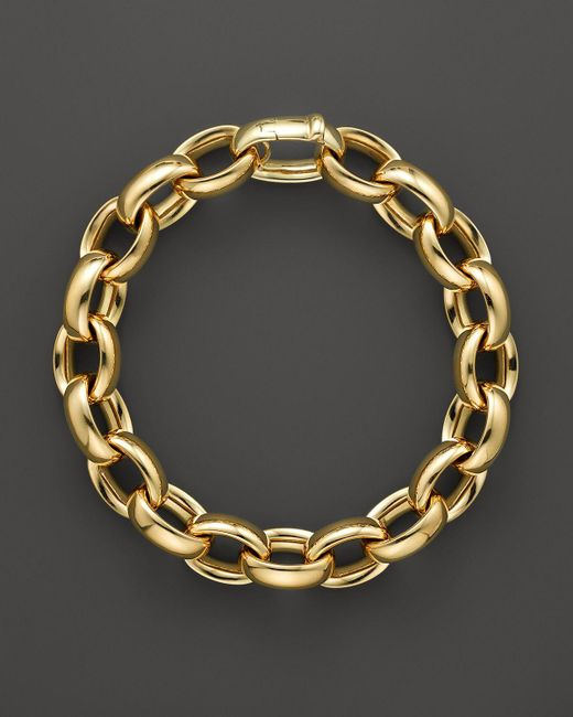 Roberto Coin | Metallic 18k Yellow Gold Rounded Oval Link Bracelet - Bloomingdale's Exclusive | Lyst