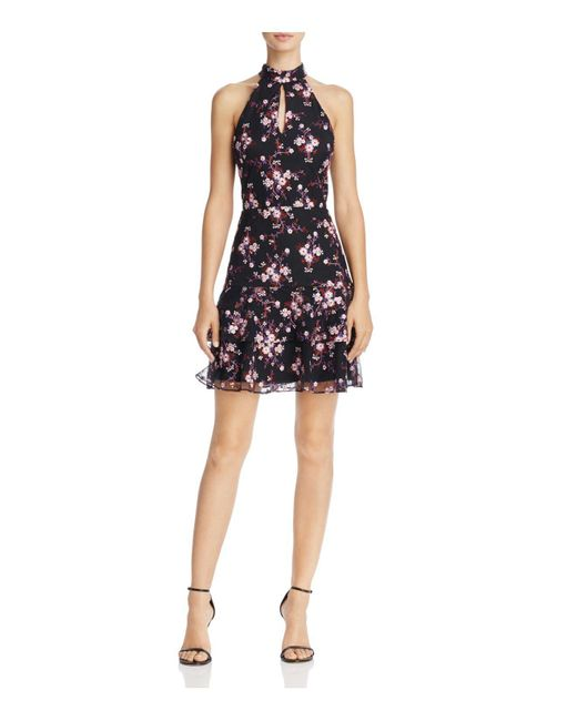 Parker | Black Luana Floral-embroidered Tiered-hem Dress | Lyst