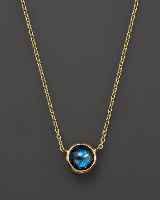 "Ippolita | 18k Gold Mini Lollipop Necklace In London Blue Topaz, 16"" | Lyst"
