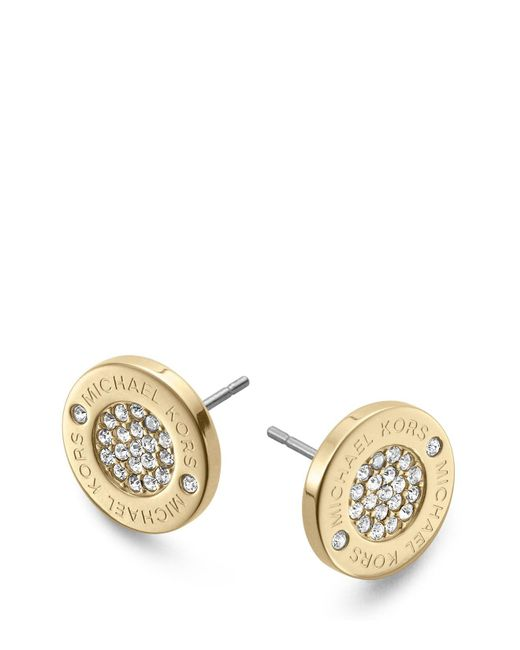 Michael Kors | Metallic Pavé Logo Stud Earrings | Lyst