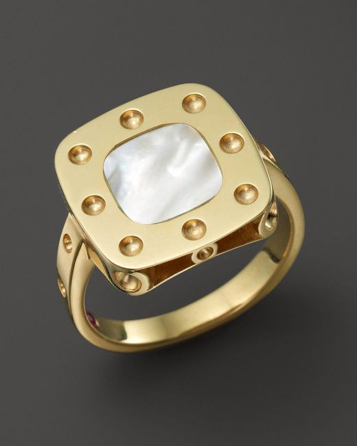 Roberto Coin | Metallic 18k Yellow Gold Pois Moi Mother-of-pearl Ring | Lyst