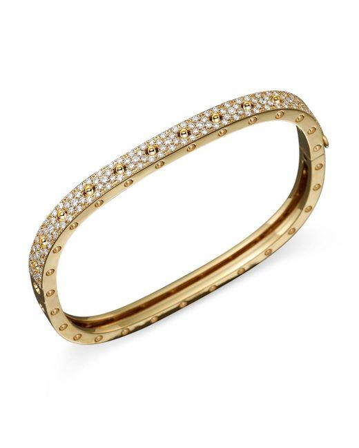 Roberto Coin | Metallic 18k Yellow Gold And Diamond Pois Moi Single Bangle, 1.35 Ct. T.w. | Lyst