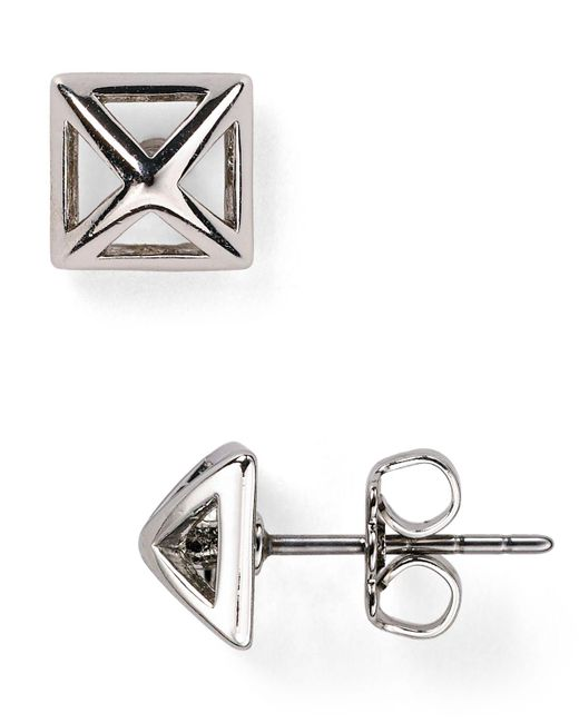Rebecca Minkoff | Metallic Pyramid Cut-out Stud Earrings | Lyst