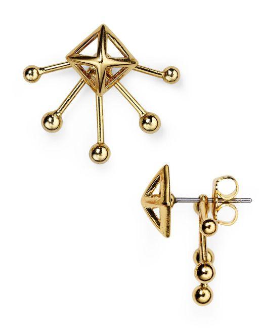 Rebecca Minkoff | Metallic Pyramid Fan Stud And Jacket Earrings | Lyst