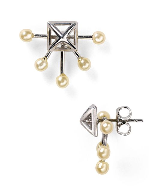 Rebecca Minkoff | Metallic Pyramid Fan Stud And Jacket Earrings | Lyst