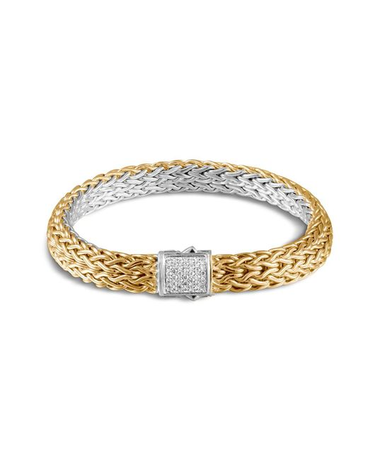 John Hardy | Metallic Classic Chain Sterling Silver And 18k Bonded Gold Medium Reversible Bracelet With Pavé Diamonds | Lyst