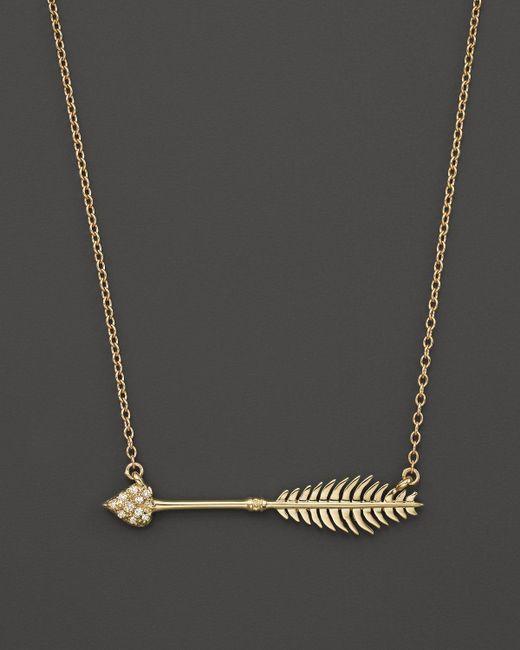 "Mizuki | Metallic 14k Yellow Gold Small Heart Arrow Diamond Necklace, 15"" | Lyst"