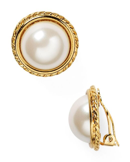 Carolee   White Rope Imitation-pearl Clip On Earrings   Lyst
