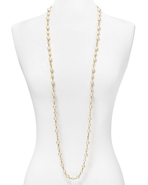 Carolee | White Faux-pearl And Crystal Long Necklace, 48"
