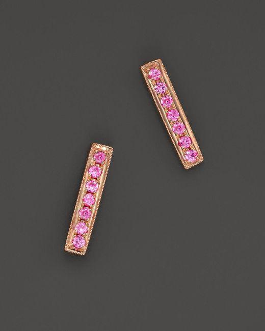 Dana Rebecca | 14k Rose Gold Bar Stud Earrings With Pink Sapphire | Lyst
