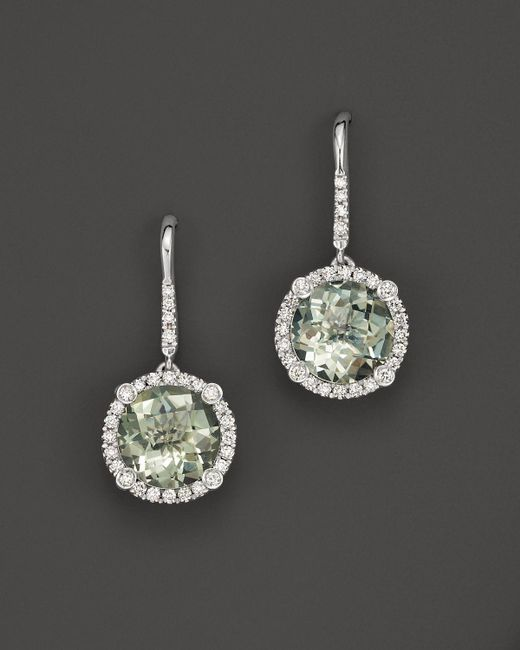 Roberto Coin   18k White Gold And Prasiolite Drop Earrings With Diamonds   Lyst