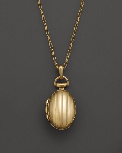 "Monica Rich Kosann | Metallic 18k Yellow Gold Petite Pinstripe Locket Necklace, 30"" | Lyst"