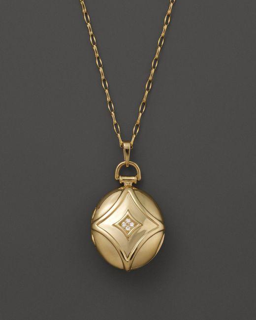 "Monica Rich Kosann | Metallic 18k Yellow Gold Petite Geometric Locket Necklace With Diamond Accents, 30"" | Lyst"